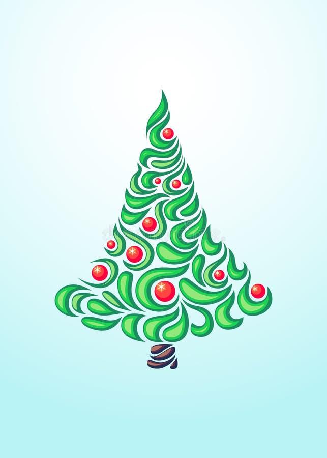 Fond abstrait avec l'arbre de Noël lumineux illustration libre de droits