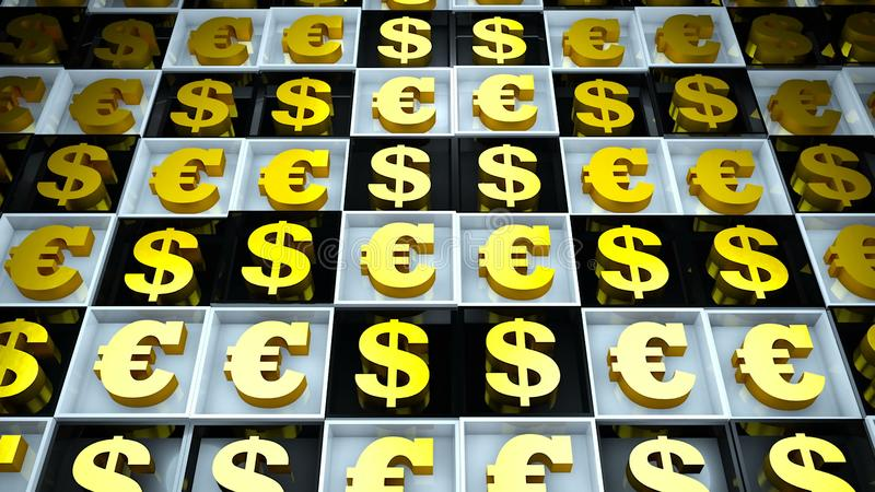 Fond abstrait avec l'euro signe et dollar sur les cubes noirs et blancs illustration stock
