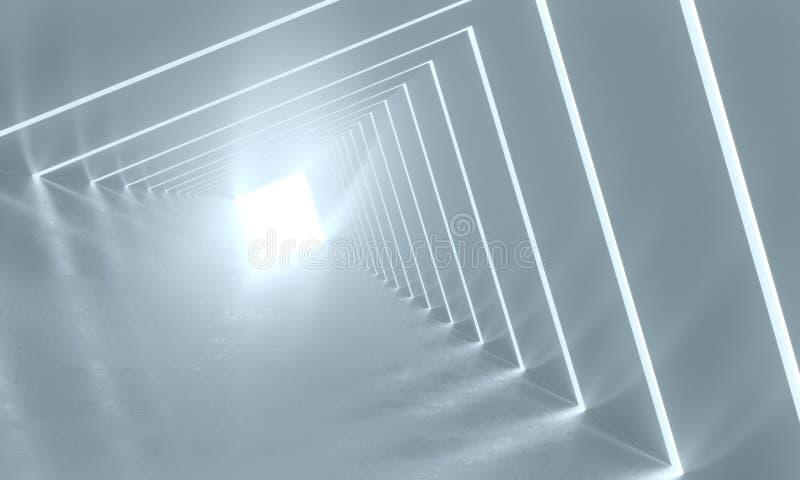 Fond abstrait avec l'intérieur blanc symétrique de tunnel rendu 3d illustration libre de droits