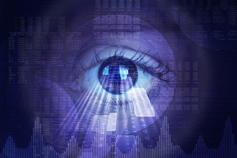 Fond abstrait avec l'oeil humain et la matrice image libre de droits