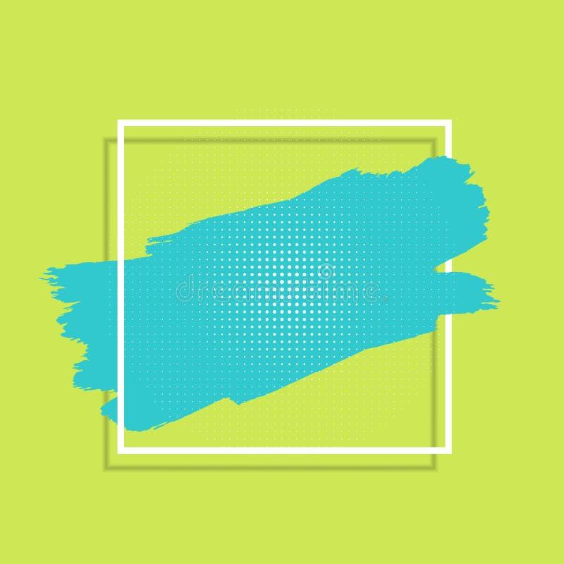 Fond abstrait avec la course de peinture et le cadre blanc illustration stock