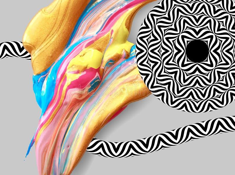 Fond abstrait avec la course liquide de dessin de brosse de main illustration de vecteur