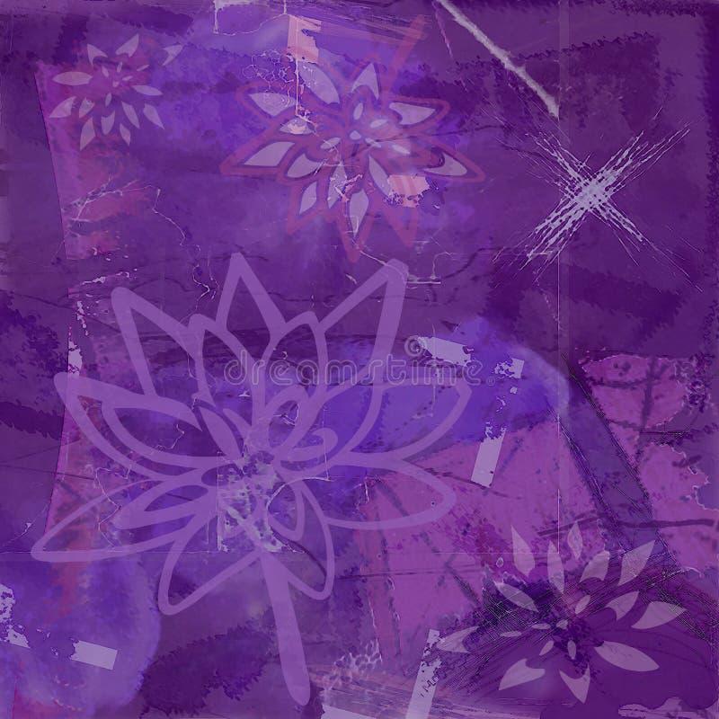 Fond abstrait avec la fleur de lotus dans le pourpre illustration libre de droits