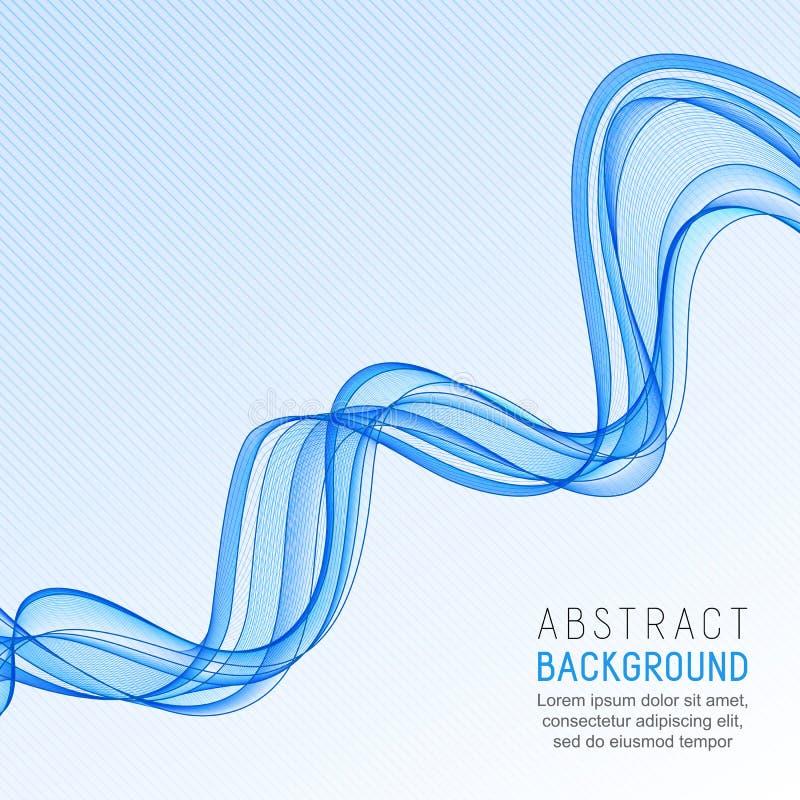 Fond abstrait avec la ligne bleue transparente de vague sur G rayé illustration stock