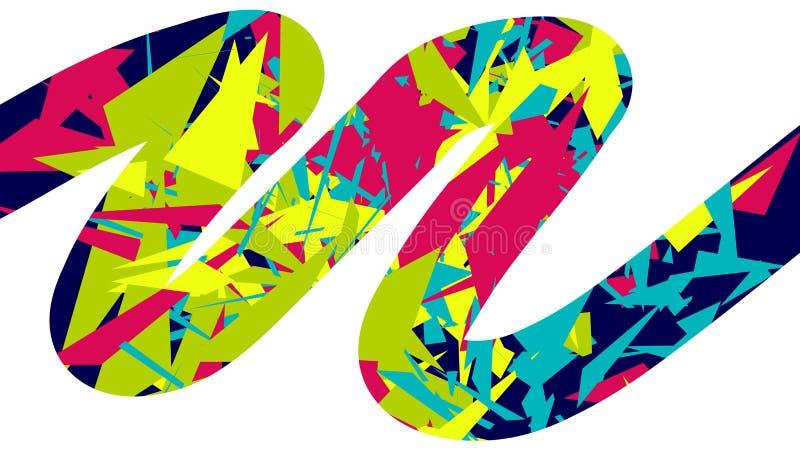 Fond abstrait avec la ligne colorée de zigzag, course de brosse avec les triangles chaotiques illustration de vecteur