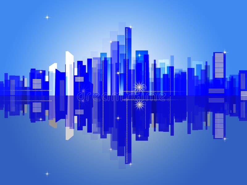 Fond abstrait avec la maison industrielle de ville illustration libre de droits