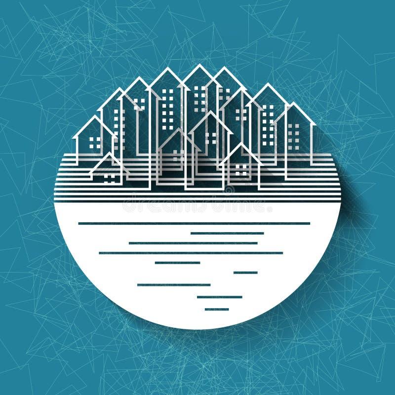 Fond abstrait avec la silhouette de ville illustration stock
