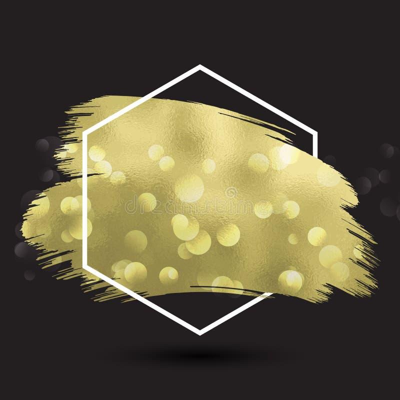Fond abstrait avec la texture métallique d'or dans le fram hexagonal illustration stock