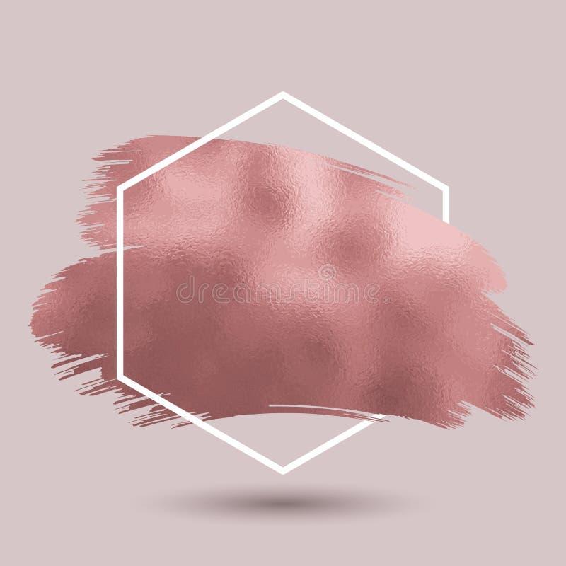 Fond abstrait avec la texture rose métallique d'or dans hexagonal illustration libre de droits