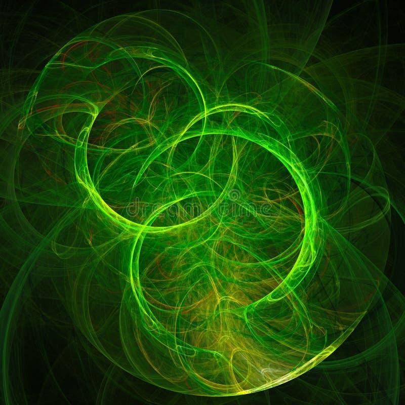 Fond abstrait avec le cercle vert clair sur le fond noir illustration stock