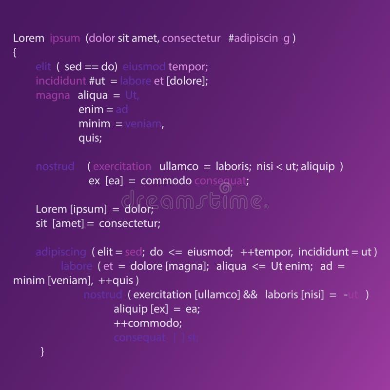 Fond abstrait avec le code de programme Programmant et codant le fond de technologie illustration de vecteur