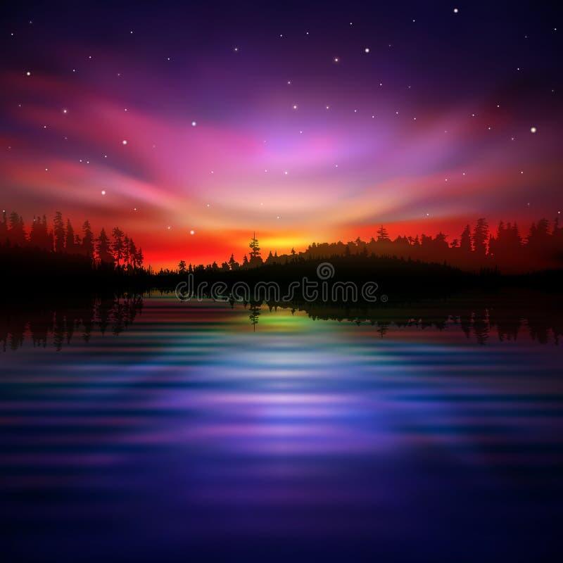 Fond abstrait avec le lac et le lever de soleil de forêt illustration stock