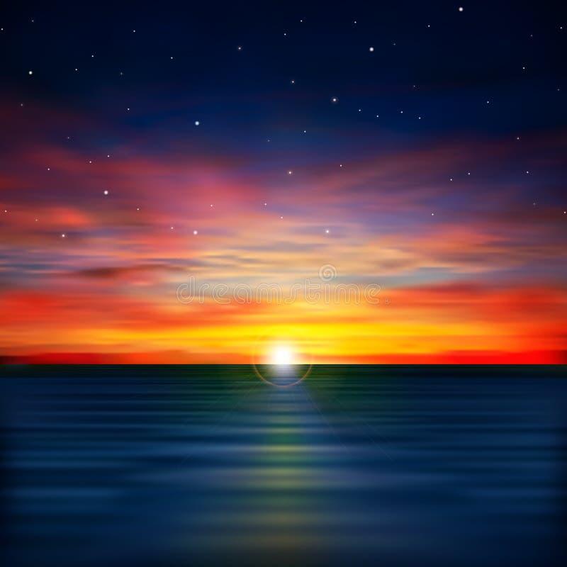 Fond abstrait avec le lever de soleil de mer illustration de vecteur