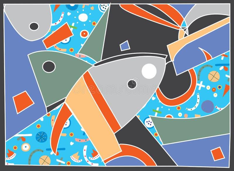Fond abstrait avec le motif de poissons illustration de vecteur