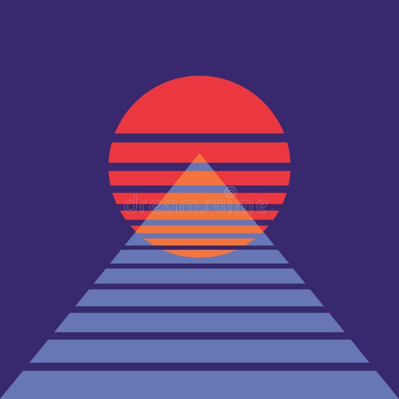 Fond abstrait avec le soleil et la pyramide dans le rétro style Pour la couverture d'album de musique Affiche pour la soir?e dans illustration libre de droits