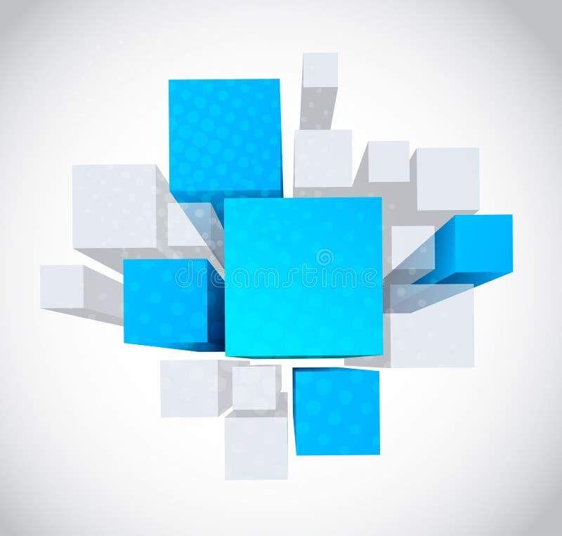 Fond abstrait avec les cubes gris et bleus en 3d illustration de vecteur
