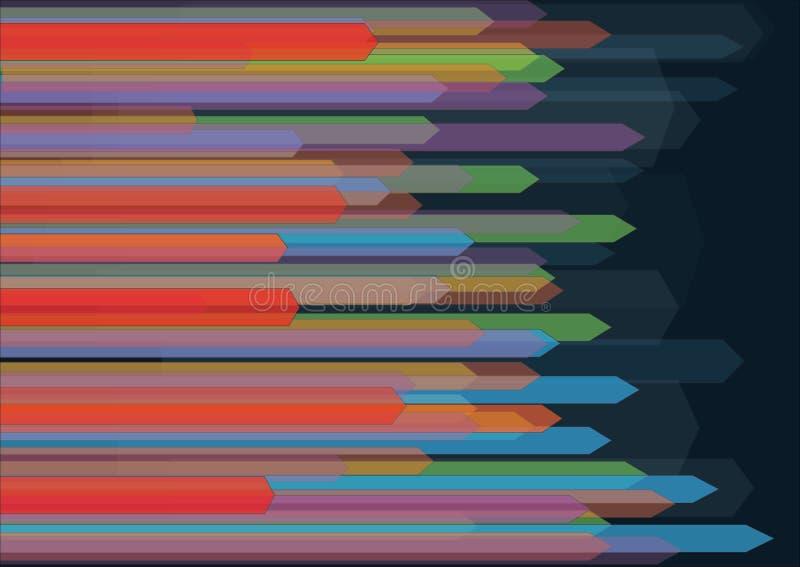 Fond abstrait avec les flèches translucides horizontales colorées illustration de vecteur