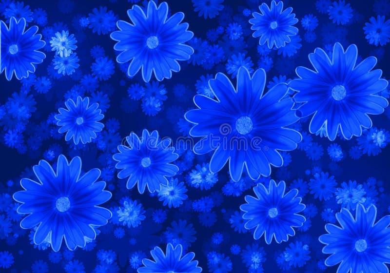 Fond abstrait avec les fleurs bleues illustration de vecteur