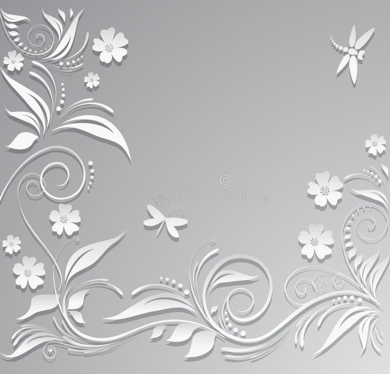 Fond abstrait avec les fleurs de papier, le papillon et la libellule illustration de vecteur