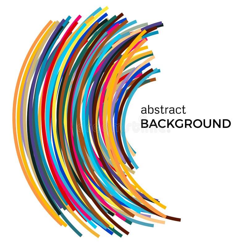 Fond abstrait avec les lignes incurvées multicolores dans un ordre chaotique illustration de vecteur