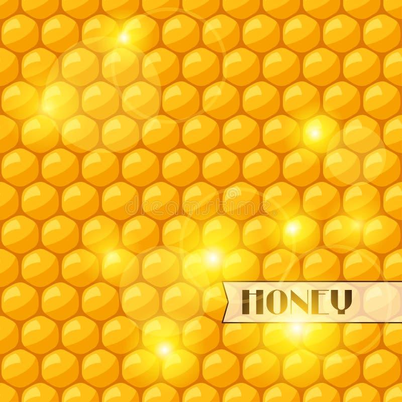 Fond abstrait avec les nids d'abeilles et le miel d'abeille illustration stock