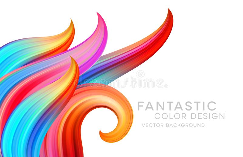 Fond abstrait avec les vagues fantastiques de couleur et les rouleaux floraux Affiche colorée moderne d'écoulement Forme de liqui illustration stock