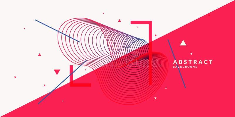Fond abstrait avec les vagues linéaires dynamiques Illustration de vecteur dans le style plat illustration stock
