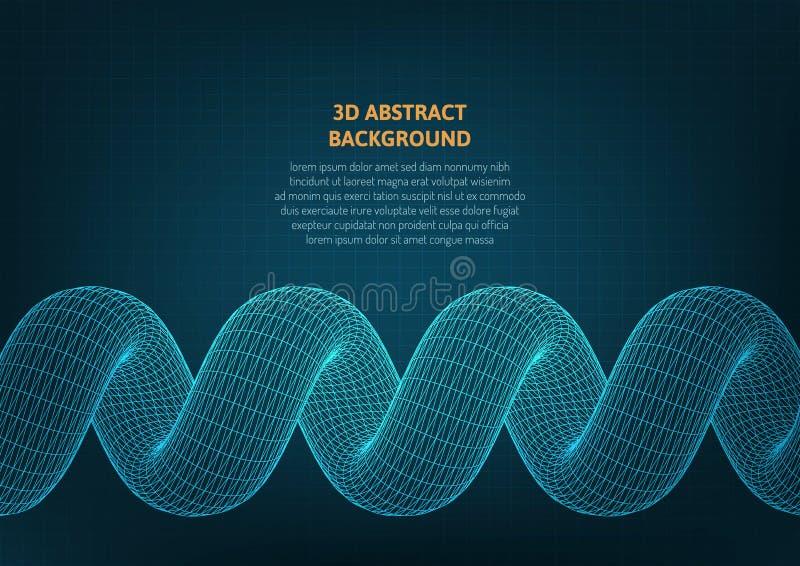 Fond abstrait avec un objet volumétrique sur la surface illustration stock