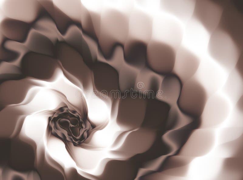 Fond abstrait blanc de fractale de Brown Chocolat et vagues crème se mélangeant dans un mouvement giratoire art numérique moderne illustration libre de droits