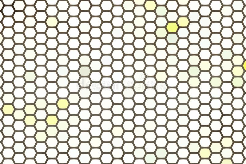 Fond abstrait, fond blanc et jaune abstrait d'hexagone illustration de vecteur