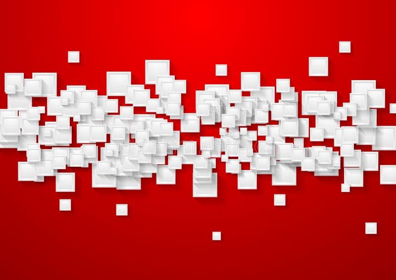 Fond abstrait blanc et rouge de technologie illustration stock