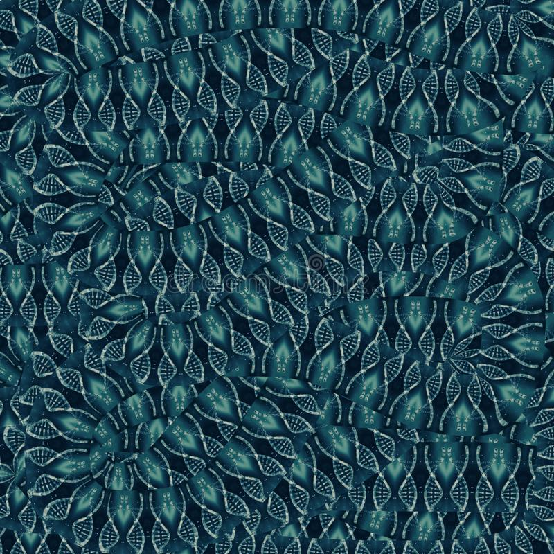 Fond abstrait bleu avec les brins entrelacés d'ADN illustration stock