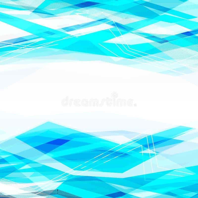 Fond abstrait bleu avec les lignes mobiles illustration libre de droits