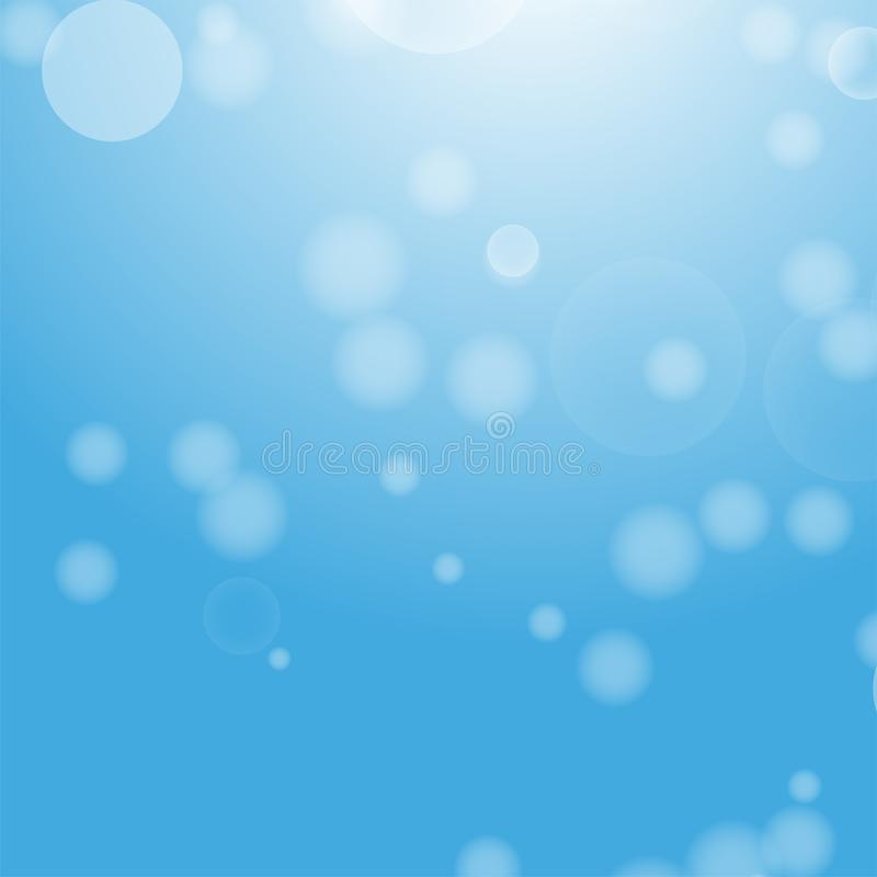 Fond abstrait bleu-clair avec un bokeh sous forme de cercles Monde sous-marin avec des bulles d'air Illustration de vecteur illustration libre de droits