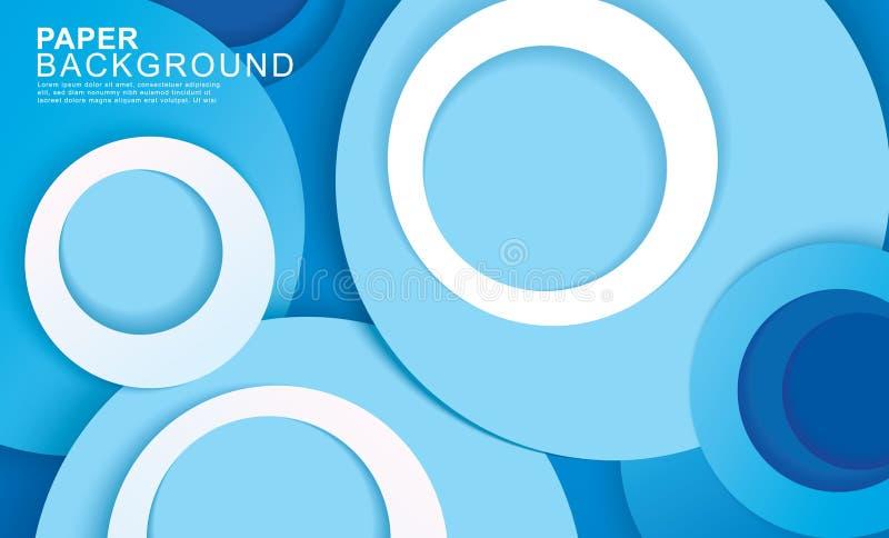 Fond abstrait bleu de cercle de papier de couche Courbes et lignes utilisation pour la banni?re, couverture, affiche, papier pein illustration libre de droits