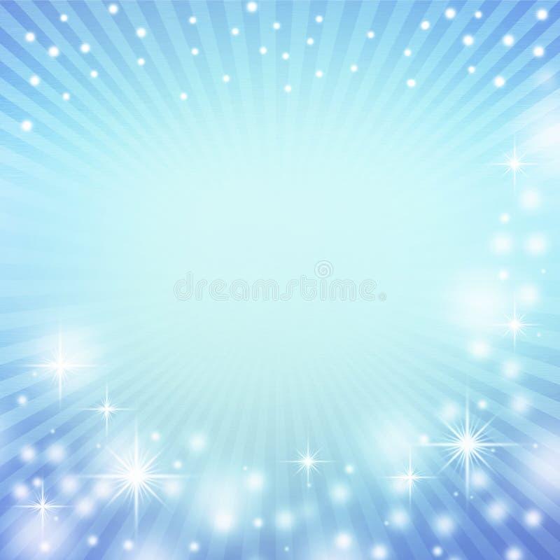 Fond abstrait bleu de Noël et lumières blanches décoratives illustration de vecteur