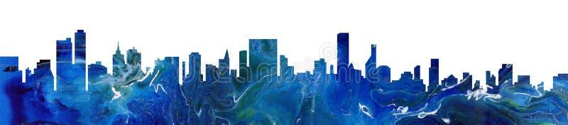 Fond abstrait bleu de peinture de paysage urbain moderne L'acrylique versent la texture avec le dessin de marbre de modèle illustration libre de droits