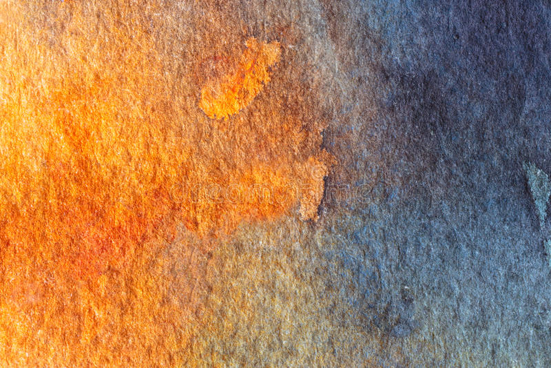 Fond abstrait bleu et orange d'aquarelle image libre de droits