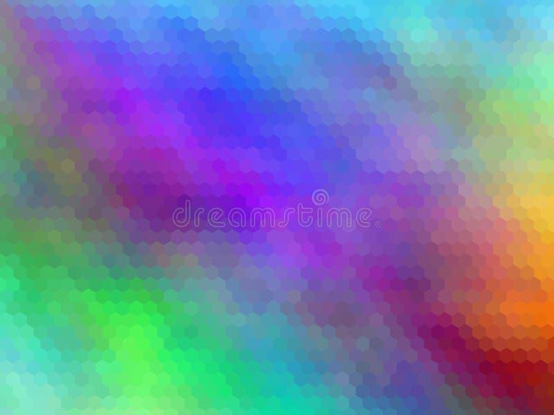 Fond abstrait brouill? Fond abstrait hexagonal pixeled multicolore illustration de vecteur