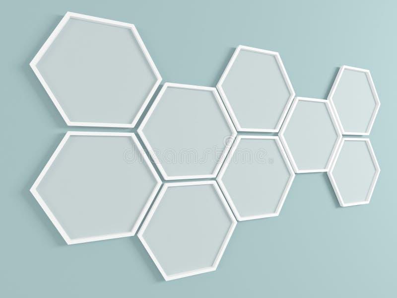 Fond abstrait. Cadres de nid d'abeilles sur le mur. 3D rendent. illustration de vecteur