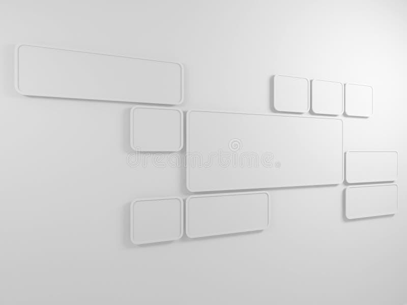 Fond abstrait. Cadres rectangulaires sur le mur. 3D rendent. illustration libre de droits