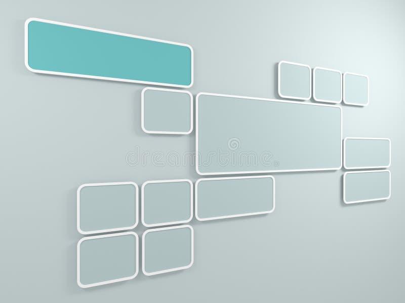 Fond abstrait. Cadres rectangulaires sur le mur. 3D rendent. illustration stock