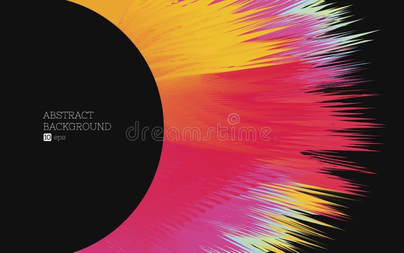 Fond abstrait, cercle noir avec l'explosion de couleur illustration stock
