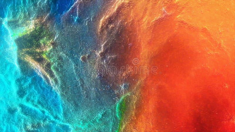 Fond abstrait chancelant coloré de mouvement Animation colorée abstraite de fond de particules Sphères mobiles photographie stock libre de droits