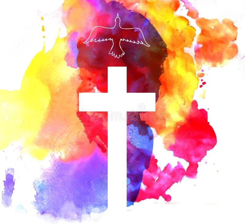 Fond abstrait coloré avec la croix illustration libre de droits