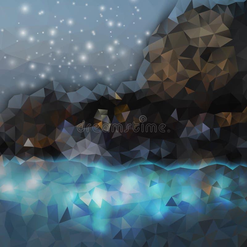 Fond abstrait coloré Montagnes et mer illustration libre de droits