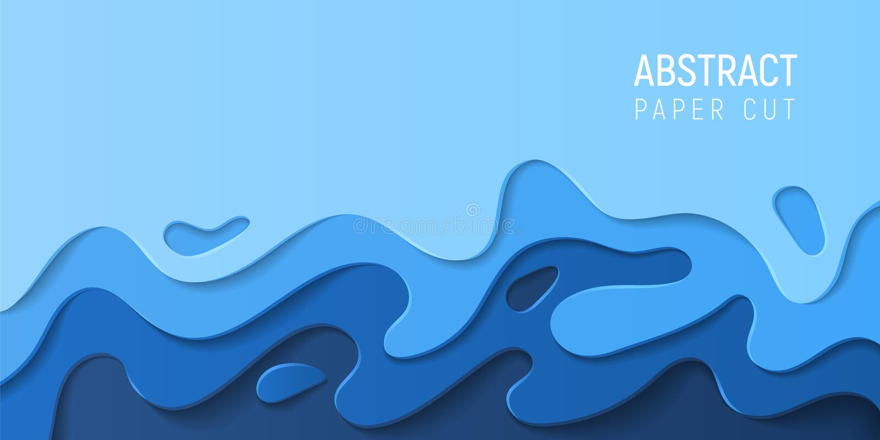 Fond abstrait coupé de papier de l'eau Bannière avec les vagues bleues de la coupe 3D de papier abstraite Conception ?cologique V illustration de vecteur