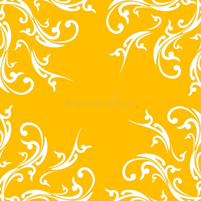 Fond abstrait créateur avec l'élément floral sur la couleur orange illustration stock