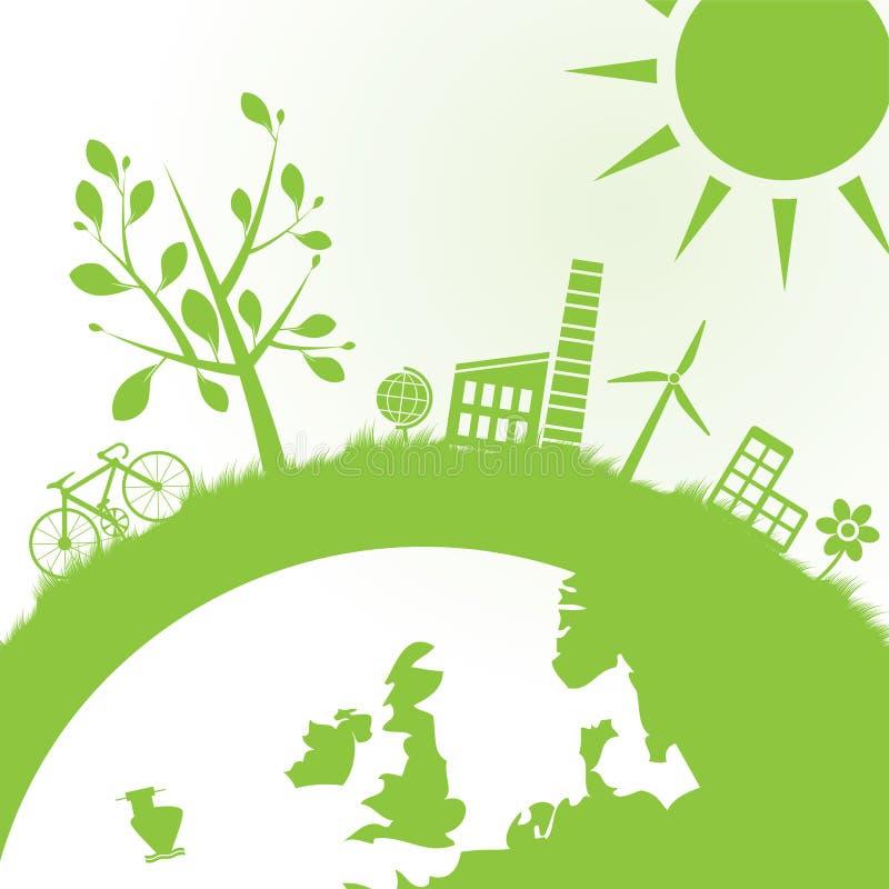 Fond abstrait d'écologie et de pouvoir illustration libre de droits