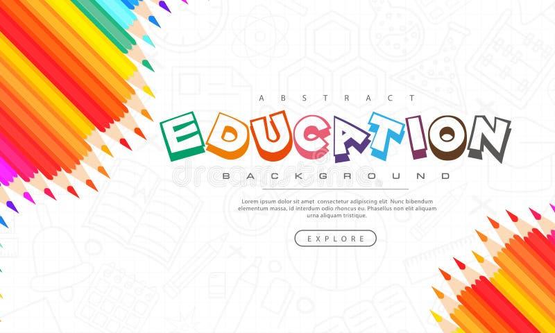 Fond abstrait d'éducation, de nouveau à l'école, apprenant, étudiant, enseignement, fond d'illustration de vecteur avec les crayo illustration stock